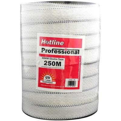 Hotline Professional Electric Fence Tape 40mm - White / Green - White