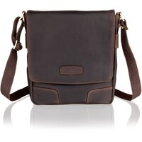 Woodland Leather Unisex Luxurious Deep Brown Leather Messenger Bag - Dark Brown