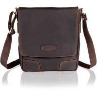 Woodland Leather Unisex Luxurious Deep Brown Leather Messenger Bag - Dark Brown