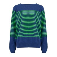 Thin French Stripe Cashmere Sweater - Denim Blue & Green