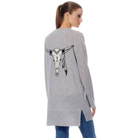 Skull Cashmere Kenya Cardigan - Heather Grey