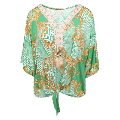 DB3 TIE FRONT CUT OUT SLEEVE BATWING PRINTED SUMMER TOP - GREEN - One Size