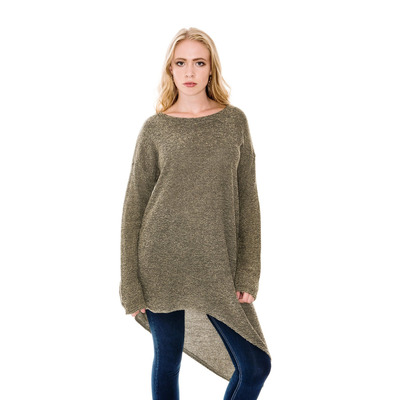 A POSTCARD FROM BRIGHTON KIZZY ASYMMETRIC KNIT TUNIC TOP - OLIVE - S/M