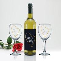 Mr & Mrs Gold Heart White Wine Gift Set