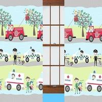 Emergency Vehicle, Blue Nursery Curtains 54s