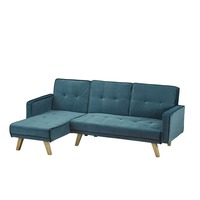 LPD Furniture &pipe; Kitson Corner Sofa Bed Teal Velvet