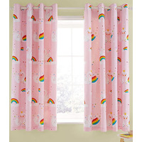 Catherine Lansfield, Pink Rainbow Swan Curtains 66 x 72 Inch