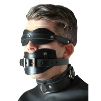 Leather Internal Penis Gag Blindfold  Collar Set