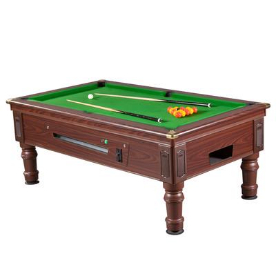 Mightymast 6ft Prince Slate Bed English Pool Table - Green, Mahogany