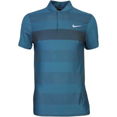 Nike Golf Shirt MM Fly BLADE Stripe Alpha Midnight Turq AW16
