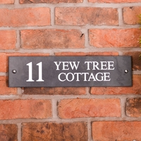 Slate Address House Sign 40.5 x 10cm - smooth slate