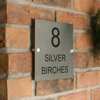 Stainless Steel Square House Sign 20 x 20cm