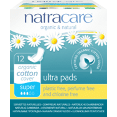 Natracare Ultra Pads Super with Wings - Pack of 12