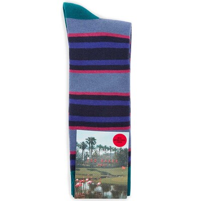 Ted Baker Golf Socks Stripe Crew Blue SS17