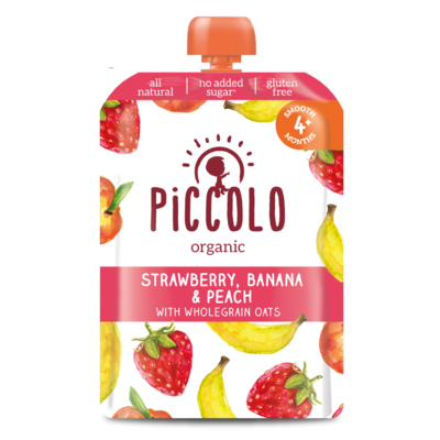 Piccolo Banana, Strawberry & Peach with Mint 100g