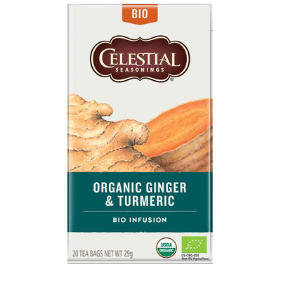 Celestial Seasonings Organic Ginger & Turmeric Herbal Tea 20 Bags