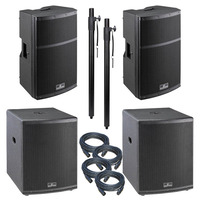 """Large 4400 Watt Active PA System 12"""" Tops & 15"""" Subs"""
