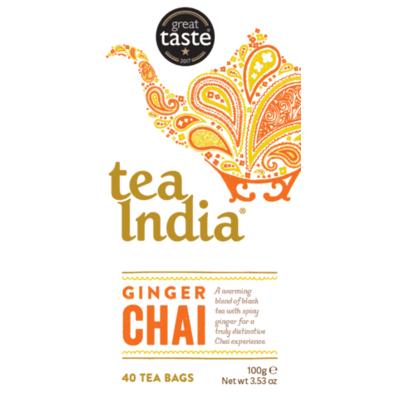 Tea India Ginger Chai 40 Tea Bags