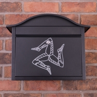 Black Dublin Postbox With Isle of Man Triskelion Design - without