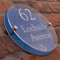 Modern Acrylic Round House Sign With Scottish Thistle Emblem