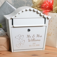 Personalised Wedding Letterbox With Name Date and Hearts