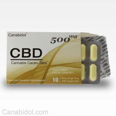 Canabidol CBD Cacao-Tabs 500mg - 10 Gel Tabs