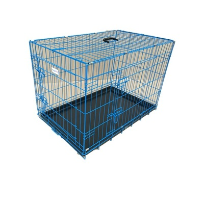 HugglePets Pink / Blue Dog Cage with Plastic Tray