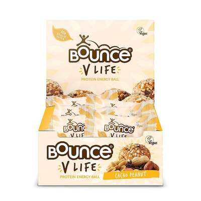 Bounce V Life Vegan Protein Cacao & Peanut Energy Balls - Pack of 12