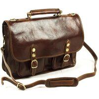 Classic Range Italian Leather Twin Buckle Messenger Bag - Small