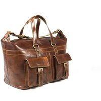 Classic Range Superior Full Grain Italian Leather Overnight Bag / Holdall - Brown