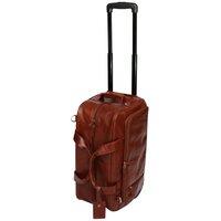 San Babila Cognac Wheeled Leather Travel Bag - Cognac