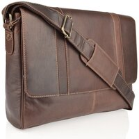 Woodland Leather Burnish Buffalo Leather Landscape Messenger Bag - Burnish