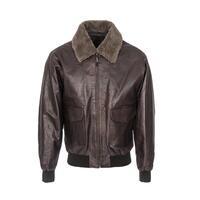 Woodland Leather Mens Waxed Burgundy Leather Aviator Jacket - Burgundy XS