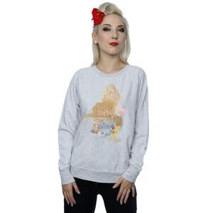 disney princess women's belle filled silhouette sweatshirt