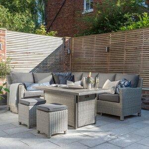 Kettler Palma Corner Rattan Outdoor Sofa Set with Firepit Table -White Wash
