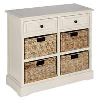 Pacific Lifestyle &pipe; Cream Wood 2 Drawer 4 Basket Storage