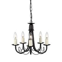 Elstead Lighting &pipe; Minster 5 Light Chandelier - Black