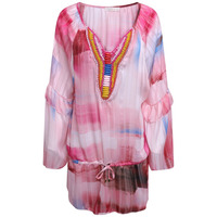 JUST M PARIS SHADOW PRINT BEADED SUMMER TOP - PINK - One Size