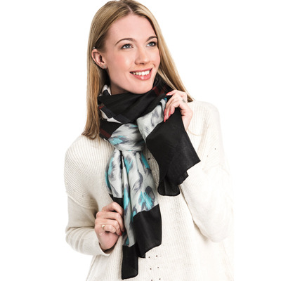 BURBERRY STYLE ANIMAL CHECK SCARF - Turquoise