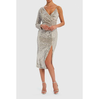Yara Sequin One-Sleeved Midi Dress - Silver - 8