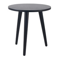 Pacific Lifestyle &pipe; Satin Black Pine Wood Round Side Table