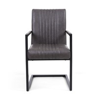 Shankar &pipe; Archer Cantilever Leather Effect Grey Carver Chair (Pair)