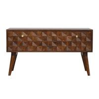 Artisan Furniture &pipe; Chestnut Diamond Carved Storage Hallway Bench