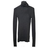 Massachusetts Long Sleeve Cotton Polo Neck Top - Charcoal Melange
