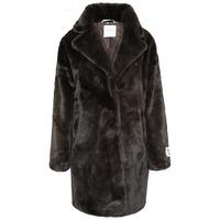 Joela Faux Fur Coat - Dark Chocolate - 8