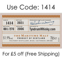 Old Pulteney 2006 14 Year Old Cask #1414, TyndrumWhisky Exclusive