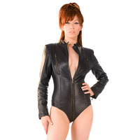 Shopping image of Leather Three Zip Domina Body Available at fetish-kinks.com