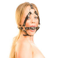 Leather Ball Gag Head Harness