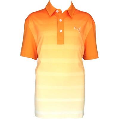 Puma Junior Titan Stripe Golf Shirt Vibrant Orange AW15