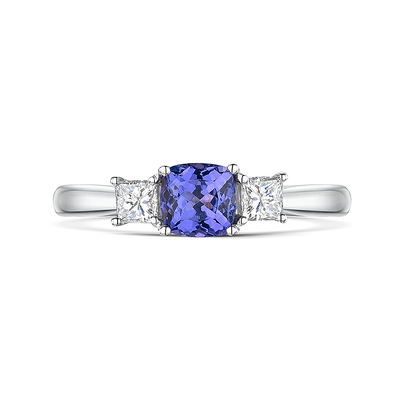 Vintage Tanzanite and Diamond Trilogy Ring 0.86cts